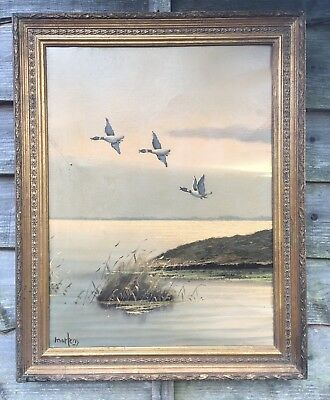 Large Seascape Oil On Canvas Painting In Gold Gilt Frame, Signed Martens