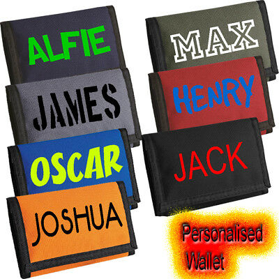 Personalised Kids boys Money Wallet bag Holiday Gift Birthday Present Xmas Fortn