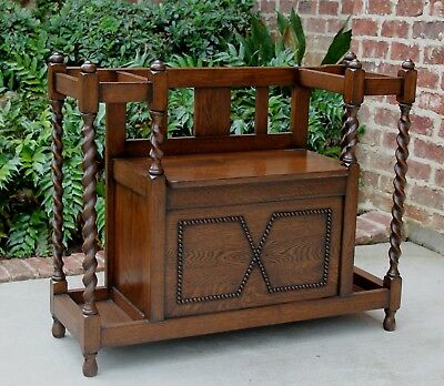 Antique English Oak Barley Twist Jacobean Umbrella Stick Stand Hall Tree Bench