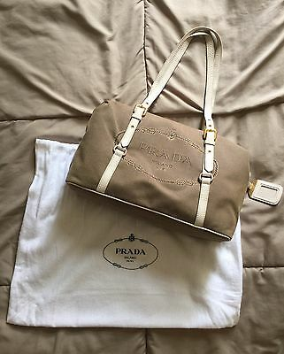 f460c9b5ca23 AUTHENTIC PRADA LOGO Jacquard Shoulder Bag Beige BR4635 - $280.00 ...