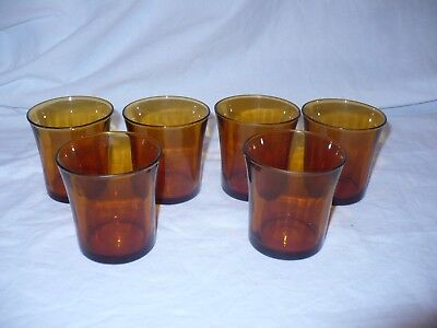 Set of 6 Vintage Amber / Yellow Duralex France Juice Glasses