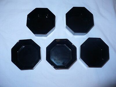 5  Vintage set Arcoroc France Black Glass Octime Custard Cups Olive Bowls 3.5""