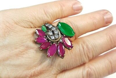 Handcrafted Statement Ring Sterling Silver Emerald Rubies Brilliants Ring  8-1/2
