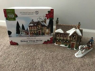 Department 56 Dickens Village Holly Tree Inn Lit House Two Piece Set Retired