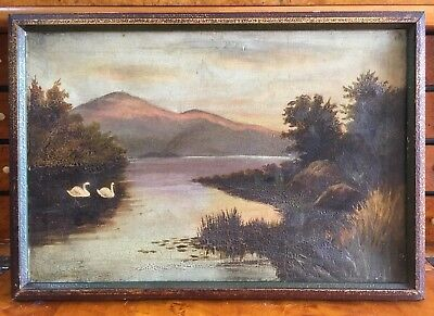 Large Victorian Oil On Canvas Painting In Gold Gilt Frame, Signed