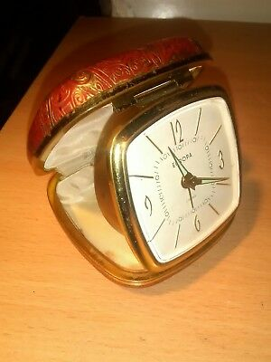 EUROPA 2 Jewels Vintage Travel Alarm Clock Germany QUALITY, working RED & GOLD