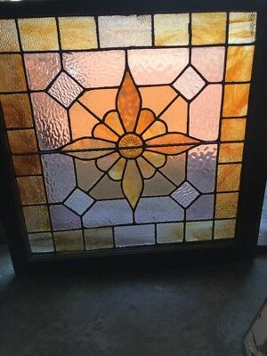SG 2366 antique Stainglass with pressed jewel center landing window 28 x 27.5