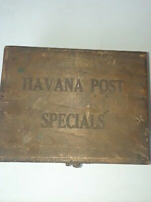 Antique Wood Cigar Box Havana Post Specials Boite Nature