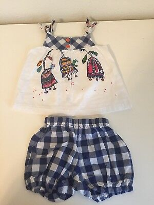 Catimini Floral Bird Tunic Dress and Bloomers Shorts Set Outfit Size 3 Months