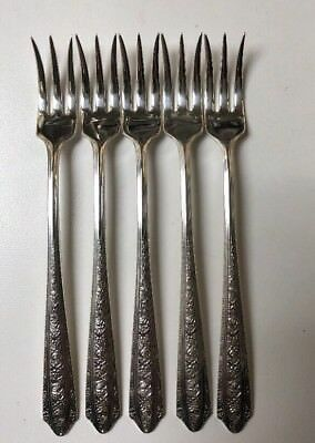 Vintage Normandie Wallace Sterling Silver Cocktail / Seafood Forks set of 5