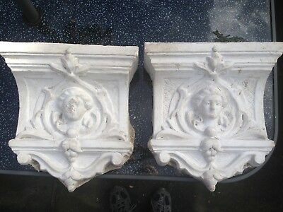 Pair of Ornate Antique White Plaster Corbels (Victorian) in good cond.