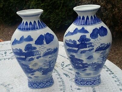 """Formalities By Baum Bros 12"""" Blue And White Ceramic Cases Scenary Set Of 2 VTG"""