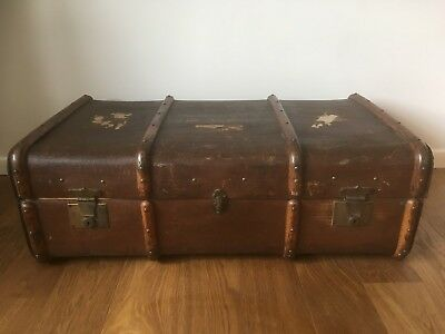 Vintage Gorgeous Large TRAVEL TRUNK - CANVAS, WOOD BANDED, LEATHER, Shabby Chic