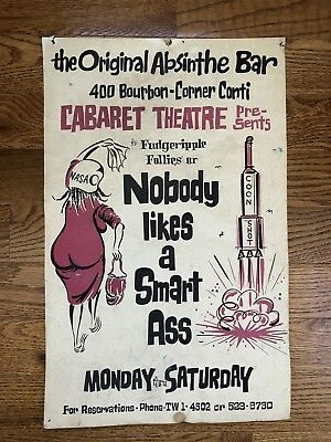 Vintage 1960s The Original Absinthe Bar New Orleans Civil Rights Movement Poster