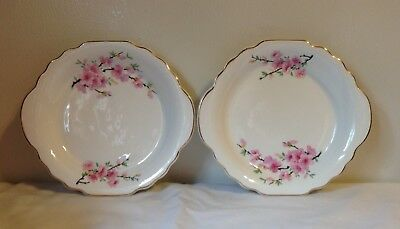 "Vintage W S George Cherry Blossom 6"" Scalloped Plates (2)"