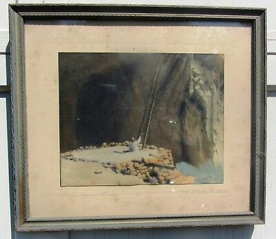 Rare Signed Antique Native American Indian Hand Colored Photograph New Mexico