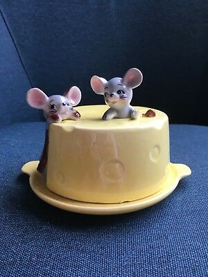 Vintage Cheese Dish Mouse Covered Cheese Ceramic Styled