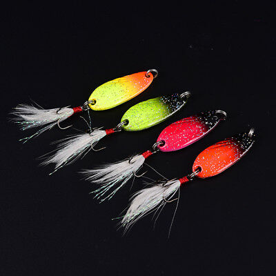 metal spinner spoon fishing lure hard bait sequin noise paillette with feather ,