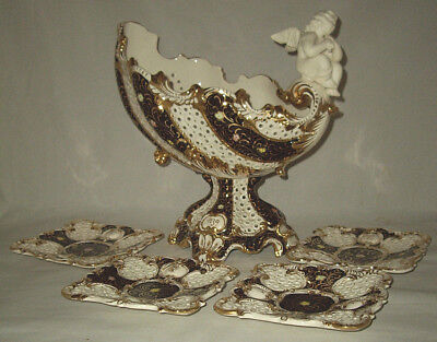 Rococo Porcelain Fruit/Center Bowl W/ Seated Cherub & 4 Dessert Plates ITALY