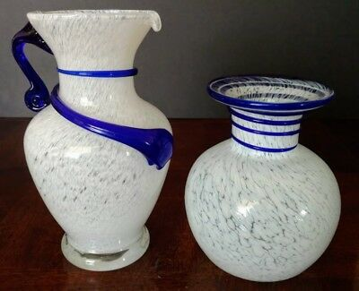 MURANO Art Cloud Cased w-Cobalt Embellishments Hand Made 1960's Pitcher & Vase