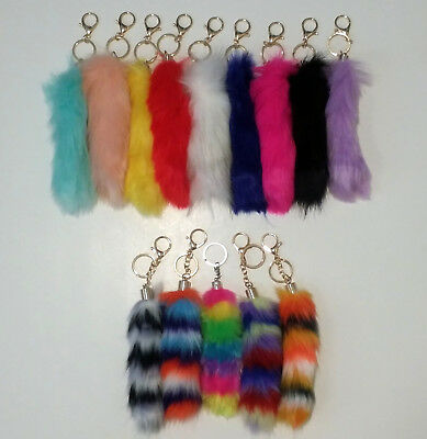 NEW Soft Fox Tail Small Faux Fur Keychain Pendant For Handbag 9 Colors + Rainbow