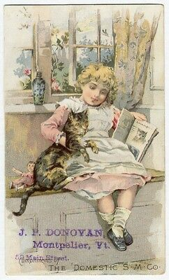 Girl TABBY CAT Victorian Trade Card DOMESTIC SEWING MACHINE Montpelier VT 1880's