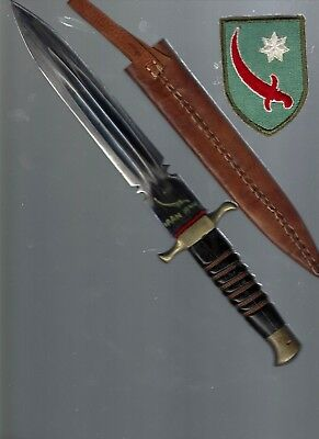 This is really cool WW2 H/md Persian Gulf 1944 Iran knife/scab, Pers Gulf patch