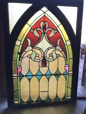 SG 2385 antique Gothic arch Stainglass window 29.75 X43