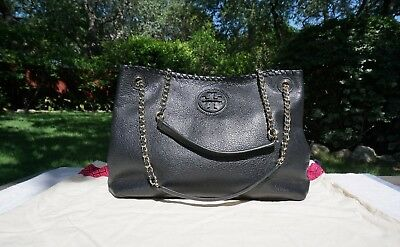 0a6025bb002b TORY BURCH THEA Chain Shoulder Slouchy Black Leather Tote -  220.00 ...