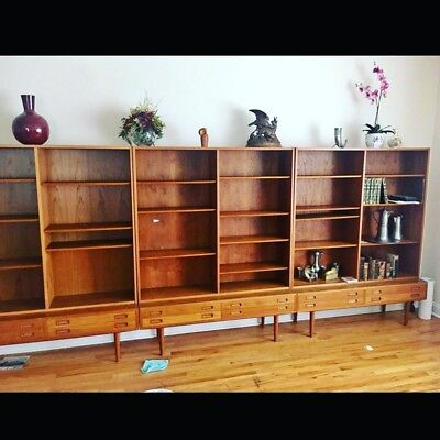 Mid Century Modern Furniture Teak Cabinets Bookcases By Poul Hundevad Danish