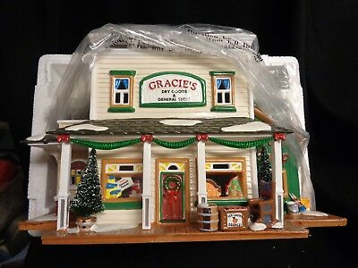 Department 56 Snow Village Gracie's Dry Goods and General Store 54915