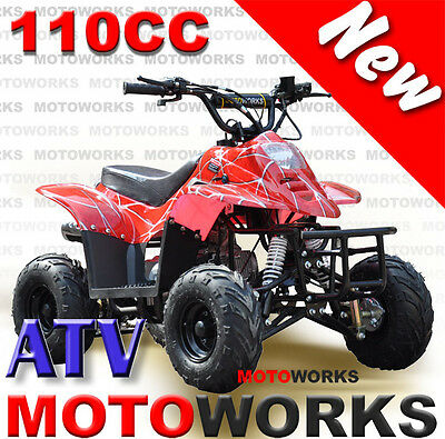 MOTOWORKS sports 110CC ATV QUAD Dirt Pit Bike Gokart 4 Wheeler Buggy kids sred