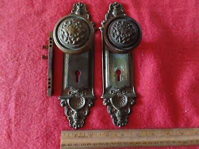 Antique Vintage Set of Ornate Early Victorian Brass Door Knobs & Plates