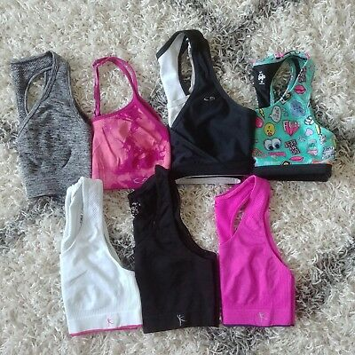 Sports Bra Lot of 7 Size Small Black Pink Grey