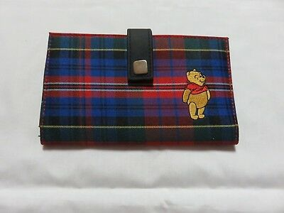 Winnie the Pooh Women's Wallet Change Purse Credit Cards Red and Blue Plaid