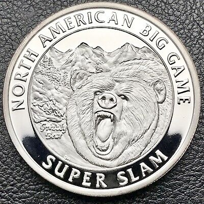 North American Big Game Grizzly Bear 1 oz .999 Silver Art Round Coin COA (0718)