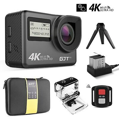 GC1 4K Touchscreen Action Camera Portable Package,WiFi Dual Screen 12MP Ultra HD