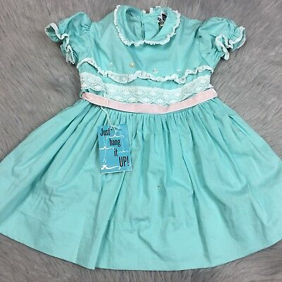 Vintage 1950s Toddler Girls Tiny Town Togs Mint Pink Lace Ruffle Dress *Read