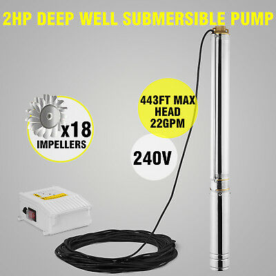 Vevor Borehole Deep Well Submersible Water Pump LONG LIVE + CABLE
