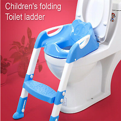 Adjustable Ladder Seat Safety Chair Baby Toddler Kids Potty Training Toilet Step