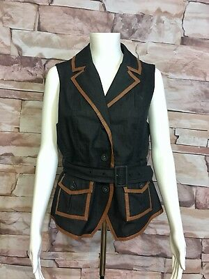 Ny&Co Womens M Denim Belted Vest With Faux Leather Trim