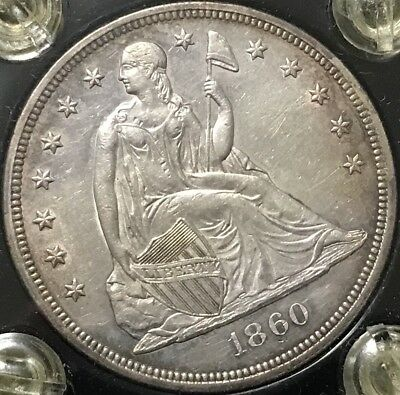 1860 $1 Seated Liberty Silver Dollar   Choice AU