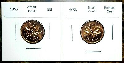 Canada 1956 Small Cent 2 Coin Set - Regular & Rotated Dies - BU UNC Red!!