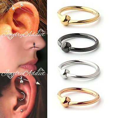 925 Sterling Silver Ear Lip Nose Eyebrow Cartilage Ring Hoop Earring Piercing