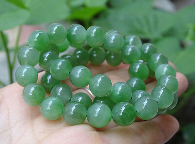 Certified Green Hetian Nephrite Necklace , Grade A Jade Jadeite Beads B-193-7