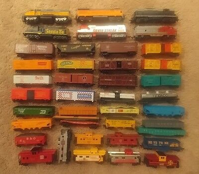 Vintage Lot of 40 HO scale Misc Rolling Stock, Train Cars, Engines.