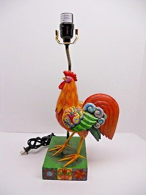 2004 Jim Shore Heartwood Creek Chicken Rooster Lamp  23 inches