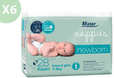 NEW Mater Newborn First Weeks Nappies 28's Size 1 Up To 3.5kg