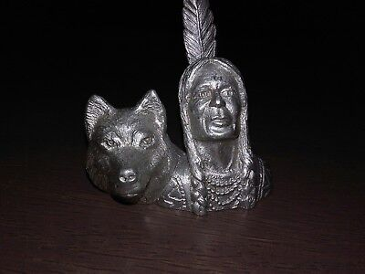 pewter indian and wolf head figurine