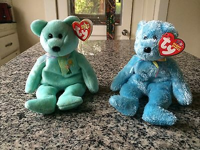 Two TY Beanie Bear Babies Sherbet BLUE/TEAL Bear+Ariel GREEN/TURQUOISE NEW